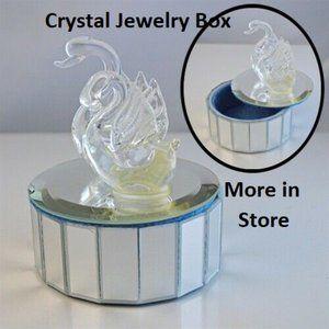 NWT double swan trinket box glass mirror jewelry